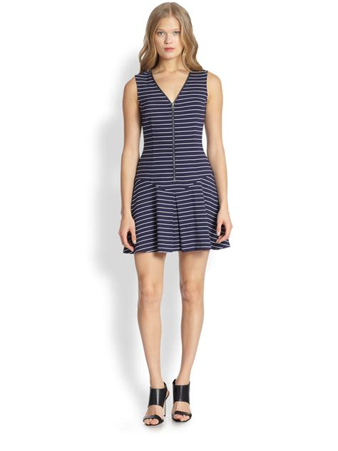 B18 Dress Zip White Stripe theory say i dress zip front striped jersey dress in blue navy white lyst