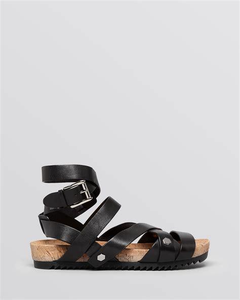 flat gladiator shoes minkoff flat gladiator sandals tristen in black lyst