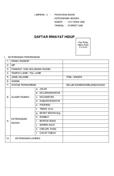 Format Daftar Riwayat Hidup Epupns | format daftar riwayat hidup perawat daftar riwayat hidup pns