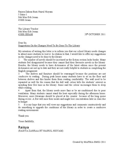 Formal Letter Complaint About School Canteen Formal Letter Spm 2011