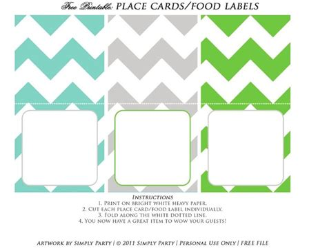 free food card templates free printable place card food label baby shower ideas