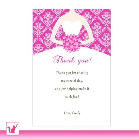 printable quinceanera greeting cards bride dress bridal shower thank you card hot pink thank