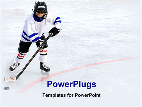 powerpoint templates free download hockey hockey player playing on ice powerpoint template