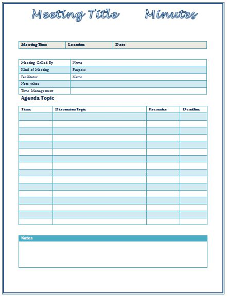 Meeting Minutes Template Best For Formal Informal Meetings Best Meeting Notes Template