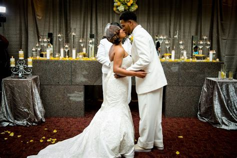 canary yellow gray wedding ceremony at the harbert center the price approach photography