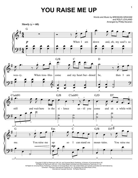 strumming pattern for you raise me up you raise me up sheet music by josh groban easy piano