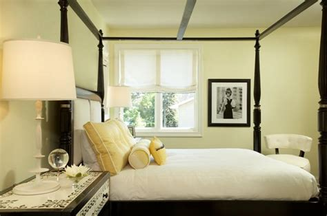 pale yellow bedroom black canopy bed contemporary bedroom martha o hara
