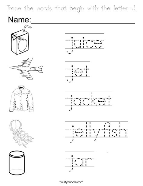 color that begins with a trace the words that begin with the letter j coloring page