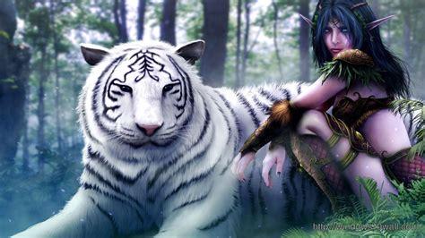 white tiger  girl hd fre  wallpaper