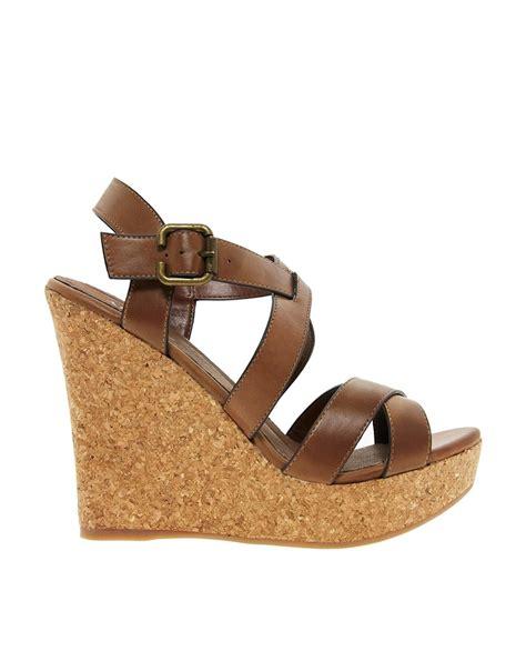 aldo regas wedge heeled sandal in brown cognac28 lyst