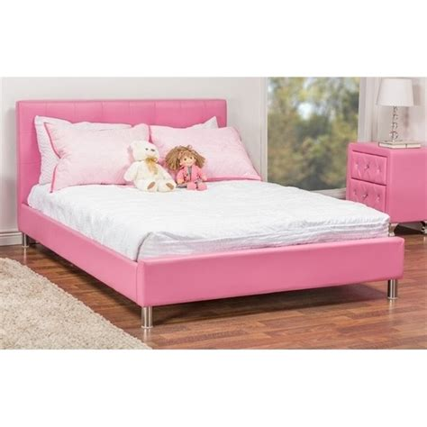 pink platform bed rosebery kids faux leather upholstered full platform bed