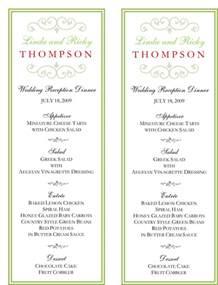 wedding food menu template wedding menu cards