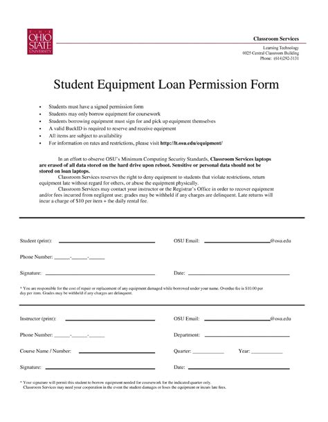 Equipment Loan Agreement Sle Letter Student Equipment Loan Permission Form Free