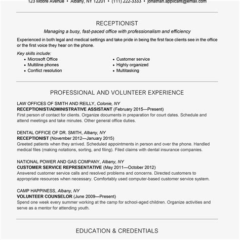 unforgettable receptionist resume examples to stand out sample