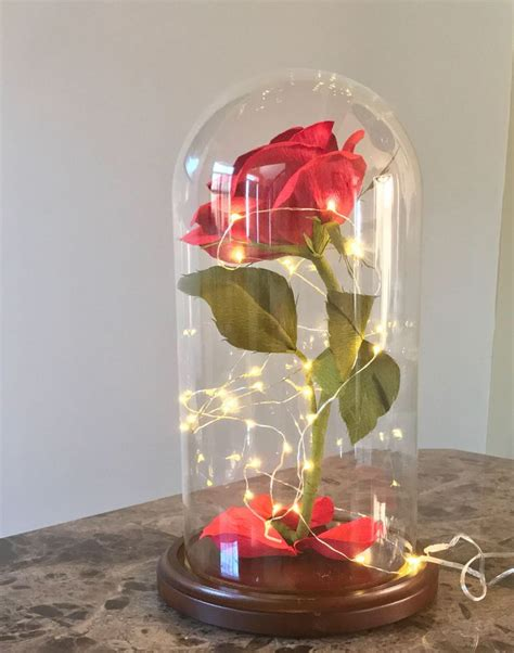 Flower In Dome And The Beast Gift and the beast handmade with crepe paper xl glass dome display paper flower 5 5