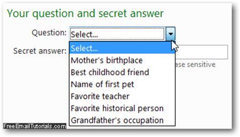 windows live reset password secret question change your hotmail security question and secret answer