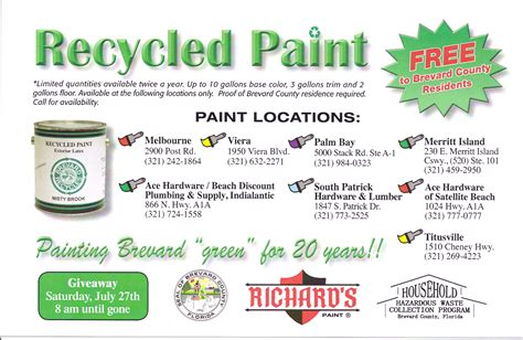Brevard County Records Free Free Recycled Paint Brevard County Richards Paint
