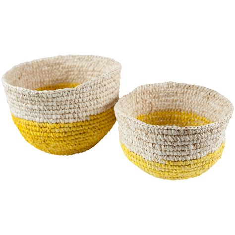 Basket Ls by 160241 S 2 Yellow Bottom Basket Raffia Ls