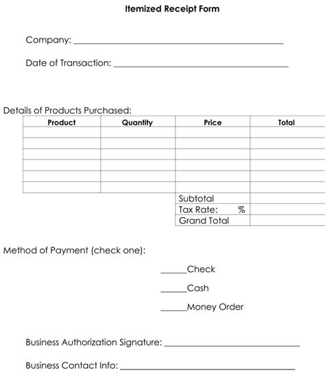 itemized receipt template itemized receipt template 10 sles formats for word