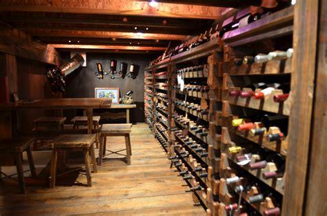 hand  custom barnwood wine cellar wine rack