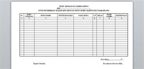 format buku catatan perkembangan siswa contoh format buku kegiatan lomba siswa quality