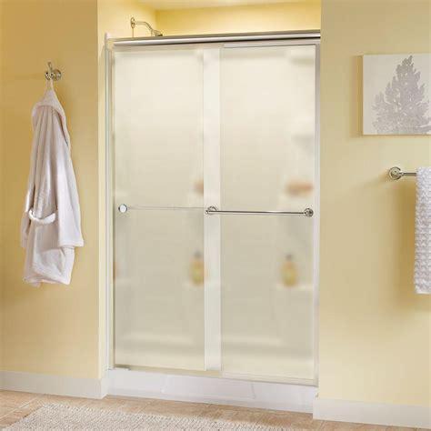 48 Frameless Sliding Shower Door Delta Crestfield 48 In X 70 In Semi Frameless Sliding Shower Door In Chrome With Niebla Glass