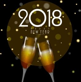 new year 2018 banner chagne celebration background glass icon bokeh
