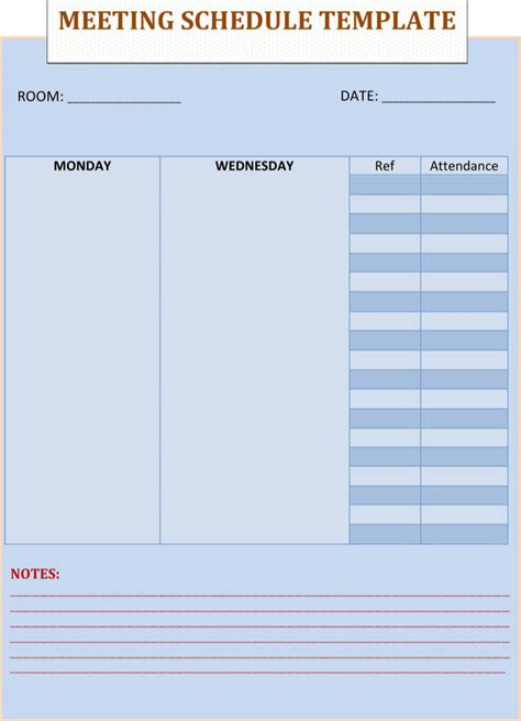 meeting schedule template download free premium