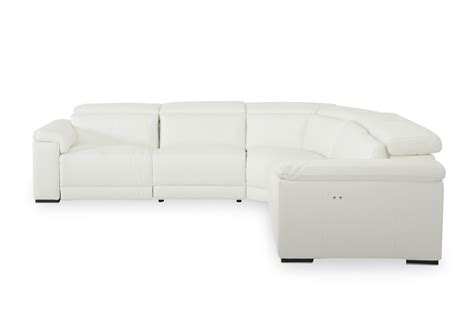 white leather reclining sectional estro salotti palinuro white leather sectional sofa w