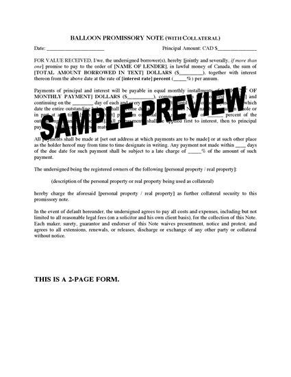 promissory note template canada canada balloon promissory note with collateral