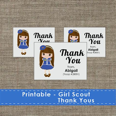 Scout Cookie Thank You Card Template by Troop Thank You Cards Diy Printable