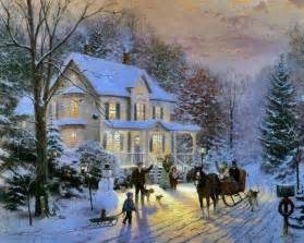 home interiors kinkade prints kinkade painting of neighbors in carriage greeting friends at time