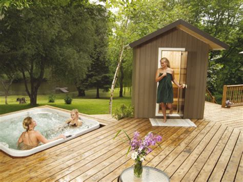 Backyard Sauna by Saunas By Saunatec Alpine Construction Supplies Limited