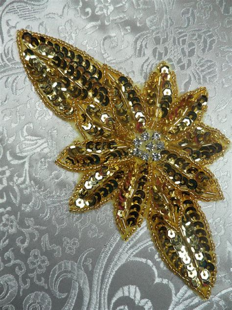 Jb25 A by Jb25 Gold Floral Rhinestone Beaded Sequin Applique 6 5