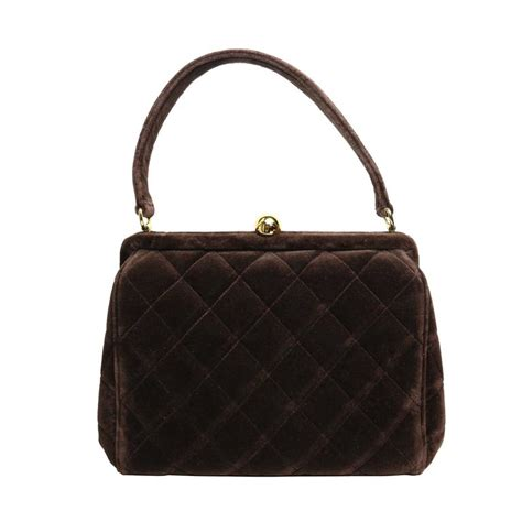 Quilted Chanel Handbag by Chanel Brown Velvet Quilted Handbag For Sale At 1stdibs
