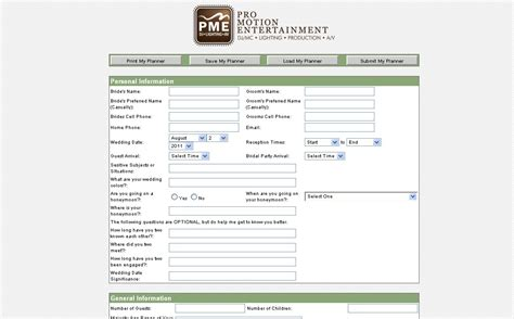 Online Planning System Event Planning Client Questionnaire Template