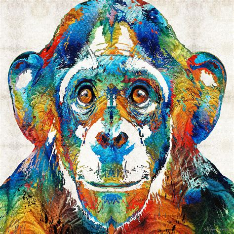 colorful monkey colorful chimp monkey business by