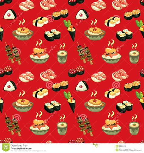 image pattern food seamless japanese food pattern stock vector image 23081612