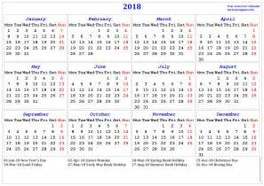 2018 Calendar Uk With Bank Holidays 2018 Calendar Printable Calendar 2018 Calendar In