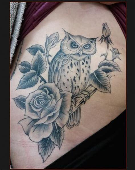 blumen seite eulen tattoo von chapel tattoo