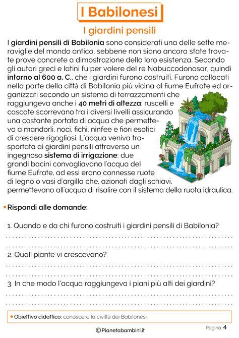 giardini pensili di babilonia i babilonesi schede didattiche per la scuola primaria