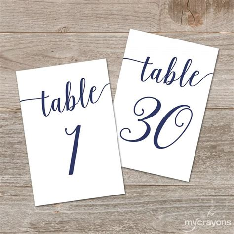 4x6 printable table numbers navy script table numbers bella script printable table