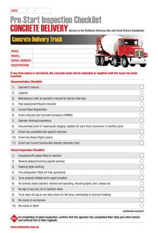 ohs inspection checklist template concrete delivery pre start inspection checklist cfmeu