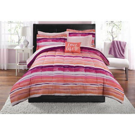 queen mainstays urban stripe bed in a bag coordinated bedding set mainstays ombre stripe bed in a bag coordinating bedding set walmart