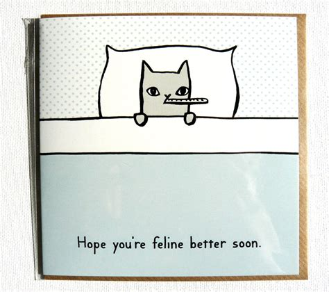 well cards you re feline better soon get well soon card with
