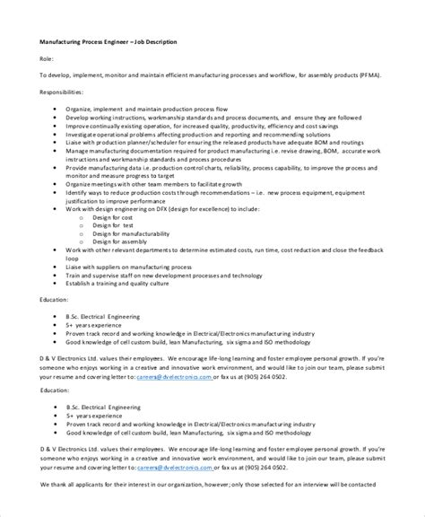 process design engineer job description sle process engineer job description 10 exles in pdf