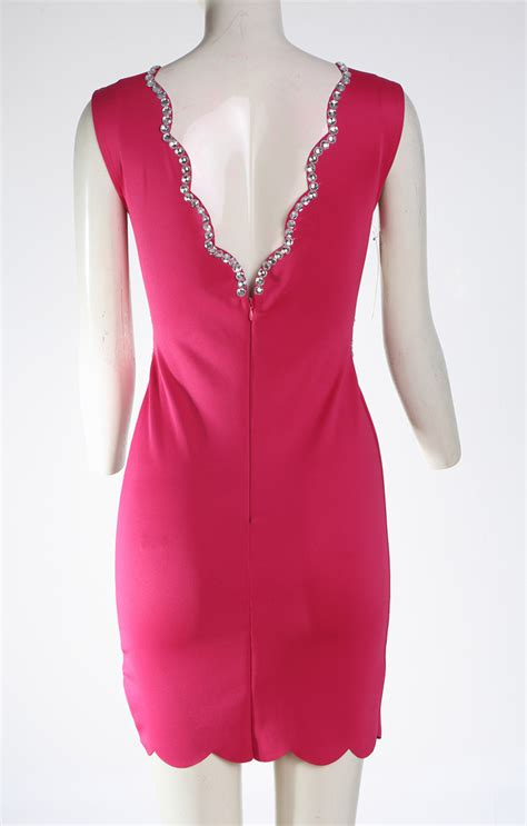 pink mini women pink v neck sleeveless cocktail party mini dress