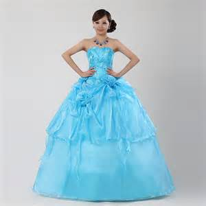 colored dresses blue colored strapless wedding dress with gown