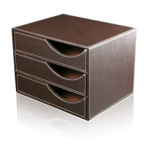 Leather Desk Organizer With Drawers by Office Desk Pu Leather Wooden Structure 3 Drawer Desk