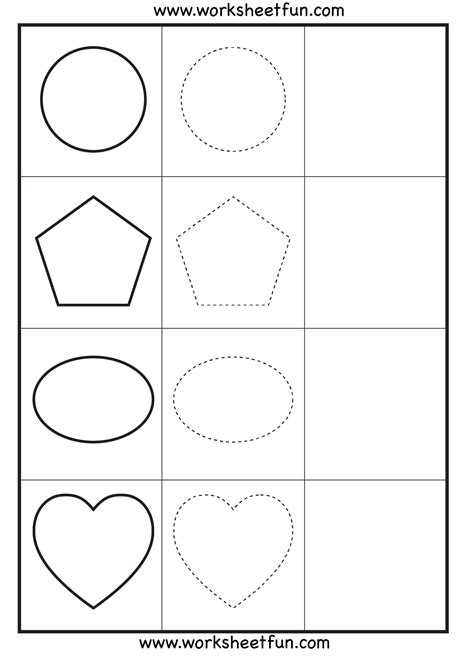 printable worksheets shapes shape tracing 3 worksheets free printable worksheets